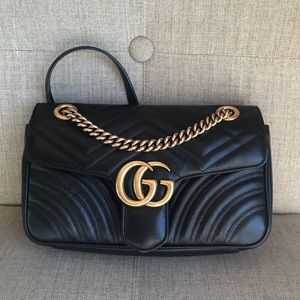Authentic GUCCI MARMONT SMALL BAG BLACK LEATHER